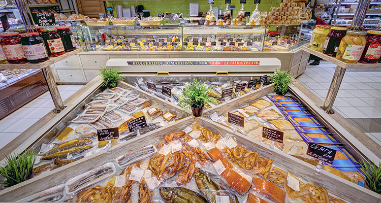 Коллекция мясных и рыбных деликатесов